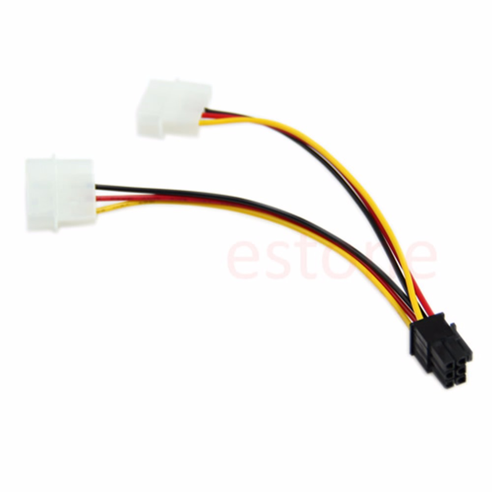 1PC 2X 4 Pin Molex to 6 Pin PCI Express PCIE Video Kartes Strāvas Adaptera Kabelis